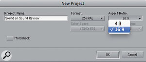 The project aspect ratio is now set when creating anew project.