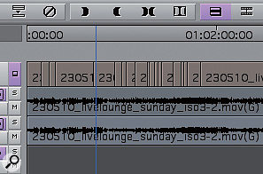 Here, just above the video track, we can see the Timecode ruler, anew and welcome addition that has been present in many other NLEs for along time.