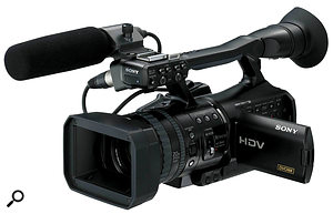 The Sony HVR V1 (far left) records progressive HD footage to standard DV tapes, while the JVC GY HM100 records progressive HD footage to SDHC memory cards. Canon's XL1S is an older camera, shooting standard-definition footage to DV tape. It is, however, amore advanced model than the other two video cameras pictured, with ahigh quality, large lens and shoulder mounting. The Canon 550DRebel T2i DSLR (far right) is currently the least expensive DSLR to provide 1080p video, but is probably best combined with accessories, such as some kind of steady‑mount