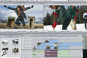 The entry-level Final Cut Express 4 has an interface very similar to that of the more expensive Final Cut Pro.