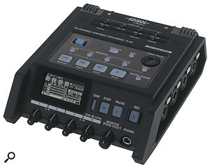 The Edirol R44 is ahigh‑quality four‑track portable recorder, with four mic preamps and an on‑board mixer. The higher-end R4 includes timecode sync ability too.