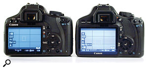 The 550DT2i (right) is remarkably similar to its predecessor, the 500DT1i (left), the most notable differences being the larger screen and the new combined Live View and video record button to the right of the viewfinder.