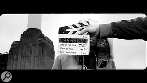 A still image from the shoot of Adam's video for 'Take The World' by Tinchy Stryder.