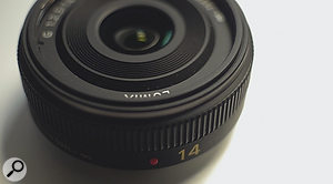 This 14mm lens is designed for aMicro Four‑Thirds camera, where it will show an image as wide as a28mm lens on afull‑frame still-image camera such as the Canon EOS 5D MKii, due to the 2x smaller sensor.