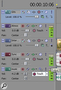 The track headers themselves now include audio level meters and pan faders, awelcome feature for those familiar with audio editing.
