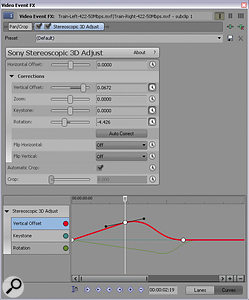 The Stereoscopic 3D Adjust effect allows separate keyframing of each parameter with Bezier control, but most effects cannot be keyframed in this way.