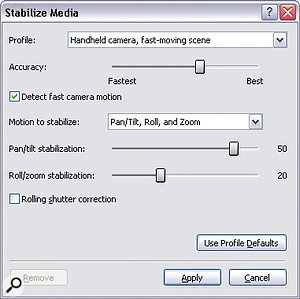 Stabilisation controls are quick and easy to set up, but don't expect the effect to work miracles on very shaky footage!