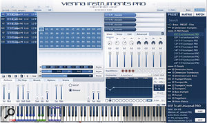 A Dimension Brass trumpets ensemble 'universal' preset in the Vienna Instruments Pro player. Horizontal keyswitches are in blue, vertical keyswitches in green, and A/B switches (used in some patches to flip between crescendo and diminuendo, for example) in red. The mauve switches are reserved for switching matrices (only one matrix can be heard at atime).