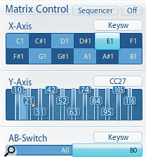 X- and Y-Axis controls allow you to freely navigate a VSL Matrix grid. This example shows the X-Axis (which governs horizontal movement) controlled by keyswitches and MIDI CC27 controlling the vertical Y-Axis. Newbies should not be put off by this elaborate articulation-switching facility; you can have plenty of fun with just one patch!