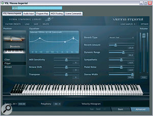 Vienna Imperial's 'Advanced' screen showing user settings and three‑band graphic EQ section.