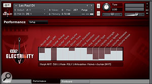 Electri6ity's default display, showing 14 key parameters affecting the tone and behaviour of the guitar.