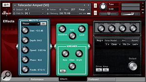 Kontakt's own effects and amp simulations can be controlled from the Effects page. The stomp box on the left can provide any combination of phaser, chorus, flanger, delay and reverb.