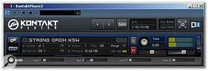 Kontakt Player can be made very compact, if required, with the large arrow buttons (centre top) providing a way of scrolling through the loaded Instruments.