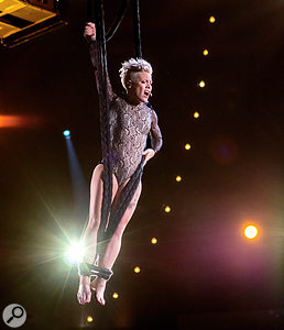 Pink performing at the 2014 Grammys.