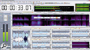 Wavelab 7 sports a new and more sophisticated graphic look that's less distracting on the eye, a neat new set of tabbed Tool windows, and flexible Tab Group options to arrange your files on screen. Notice also the four buttons of the Windows Switcher, here superimposed on the spectrum editor display towards the centre of this screenshot.
