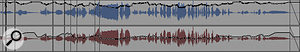 The automation graphs produced by Wave Rider (top) and Waves' Vocal Rider (bottom) on the same vocal track. Vocal Rider has failed to lift the quiet vocal passages at the middle and towards the end, and has also applied alarge boost over the long sustained note at the end.