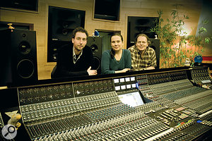 Wouter Strobbe (left), Darcy Proper and Ronald Prent (right) at the API Vision console in Galaxy Studios.