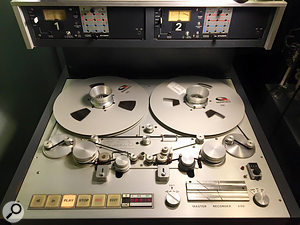 The specially designed Studer A80 quarter-inch mastering deck has two heads: the first is physically configured, via a series of rollers and capstans, to hear tape about one second before the other head, which is used for monitoring. This gives the pitch computer the time it needs to adjust groove depth for louder and softer musical passages.