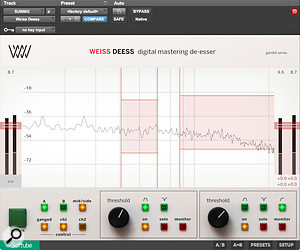 Although it's simplified in some ways compared to the 'full fat' DS1 plug-in, the dedicated De-Esser has two processing bands and auser interface purpose-designed for use with mouse and screen.