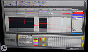 Patch changes for Wilkinson's keyboards and drums are automated in Ableton Live. Here we see the track for Wilkinson's electronic drum pad rack; the Chain Selector automation switches patches in the Ableton instrument rack.