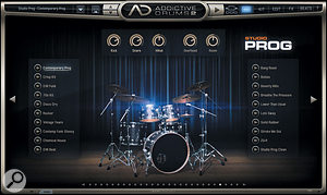 The Studio Prog kit and its associated presets as displayed in the Explorer's Kit view. The arrow buttons play short examples for auditioning purposes. Quick basic level adjustments can be made at the top of the page.