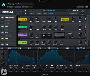 The effects rack can be dynamically re-ordered and most of its parameters modulated.