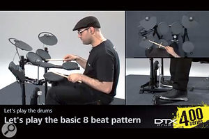 The DTX Drum Lessons app focuses on basic playing techniques.