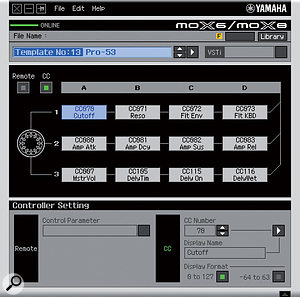 The Remote Editor allows editing of the MOX's 50 control templates, and the creation of custom templates for controlling your own soft synths using the knobs on the MOX.