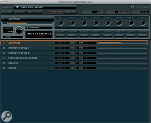 Independence Live presents asimpler face, suitable for live performance. Multiple multi‑channel layered and split projects can be loaded, and remain pre‑cached for quick program changes.