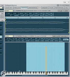 Two more of Independence's edit screens, accessed via the top row of buttons. All your usual sample-manipulation functions are available in the Mapping view (on the left), while Quick Edit is the not‑unwelcome 'idiot' screen, which also includes some helpful real‑time MIDI-controller mapping functions.
