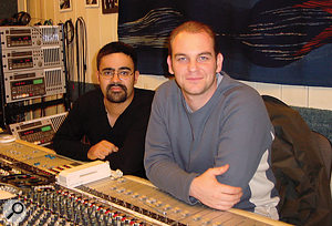 Andrew Barnabas (left) and Paul Arnold in the control room during sessions with the City Of Prague Philharmonic.