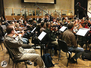The City Of Prague Philharmonic recording their contributions to the soundtrack.