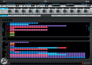 Routing in the Zen Studio control panel utility is handled using this colourful matrix: you simply drag coloured blocks from the top to the bottom half to make connections. The top panel here is showing (in very small writing!) input type and gain for the 12 mic/line inputs.