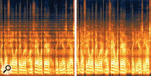 Before (left) and after (right): you can see from this spectrogram that the comb filtering which is clearly visible in the unprocessed audio as horizontal bands across the entire spectrum is significantly reduced once Unfilter has done its work.