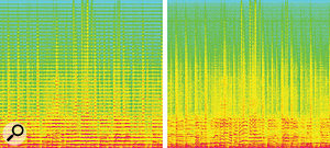 Another 'before and after' example: the left image shows an audio file rendered almost unlistenable by the prominent resonant peaks (horizontal red lines). Again, Unfilter has significantly improved matters (right).
