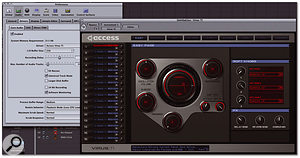 Here you can see Virus Control running as an Audio Units plug-in within Logic Pro and showing the Easy page, which offers quick access to some of the most common parameters for real-time performance. Notice also that Access Virus TI is selected as the Core Audio driver in Logic's Audio Preferences.