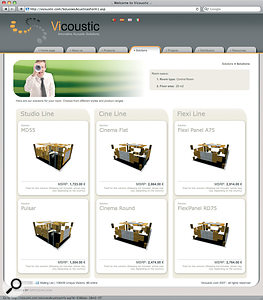 Vicoustic's on‑line 'solutions finder' suggesting some of their different products for a 25 square‑metre control room.