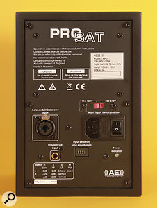The rear panel of the Pro Sat nearfields provides both balanced and unbalanced analogue inputs.