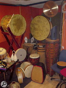 Some of the band's array of ethnic drums and percussion.