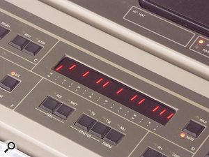 The Inpulse's multi-segment LED is common on gear from the mid-'80s, but this one provides much more feedback than typical displays of the time. As you can see in the inset picture, it wasn't just for text feedback, but also displayed the positions of beats in your patterns as you programmed.