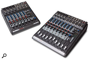 The smaller models in the Multimix range are the eight-channel Multimix Firewire 8 (left) and the 12-channel Multimix Firewire 12 (right).