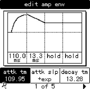 If you set the Sustain Time and Release Time of the Ion's amplifier envelope to Hold (left), any note you press will continue to sound indefinitely — very useful if you want to use the Ion as a processor for external audio. However, if you then wish to mute the envelope, you have to double-click the Home button (above).