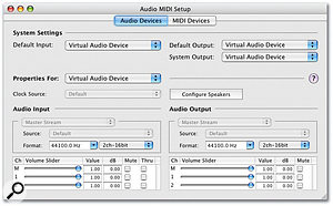 Since Xserve doesn't feature any built-in audio ports, Apple provide a Virtual Audio Device driver, as reported here by Audio MIDI Setup running on an Xserve.
