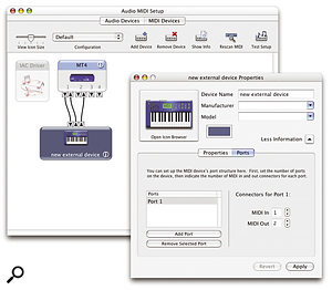 The MIDI Devices page of the Audio MIDI Setup utility offers the ability to configure some of the new Core MIDI features in Panther, such as the IAC buss and multiple port/node routing.