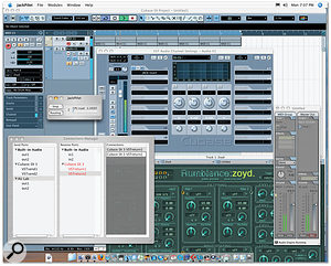 Here you can see an AU Instrument plug-in, running in AU Lab, being triggered from a MIDI track in Cubase. Its audio output is being routed into a Cubase audio track, via Jack and a clever VST plug-in included with the Jack OS X distribution.