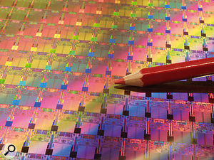 This rather neat image from Intel shows Penryn-based processors on a 45-nanometer process wafer, with a pencil that puts the size into context. According to Intel, each quad-core processor incorporates 820 million transistors.