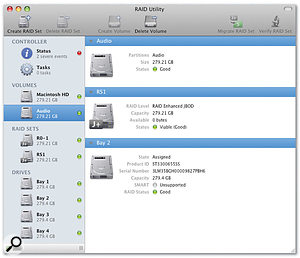The RAID Utility allows you to configure and manage hardware RAID Sets if you have a Mac Pro fitted with Apple's RAID card.