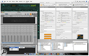This screenshot was taken on an Intel-based iMac. The Get Info windows on the right are for one application, Rax, and two Audio Units, Automat and Zoyd. Notice that Rax is a Power PC application, Zoyd is a Power PC Audio Unit and Automat is a Universal Binary Audio Unit. What this screen demonstrates is that an application running in Rosetta —  in this case, Rax — can access Power PC Audio Units whether they're Power PC-only Audio Units (Zoyd), or Universal Binary Audio Units, which contain Power PC code accessible to Rax through Rosetta. Compare this with the Garage Band 3 screenshot (overleaf) taken on the same system.