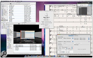 Mac OS 10.5 'Leopard', in all its glory. Notice the new iTunes-like Finder, and the unchanged Audio MIDI Setup utility. In the top-right corner there's a window that shows the new ability of iChat to share the screen of another user, which can be useful for collaboration, and in the background you can see Sibelius 5.1 running. Notice how the new Dock along the bottom reflects the contents from the Sibelius window.