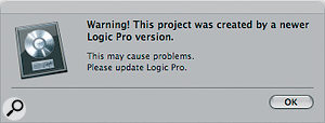 The confusing warning dialogue shown by Logic 8.0.2 when opening GarageBand 5 files.